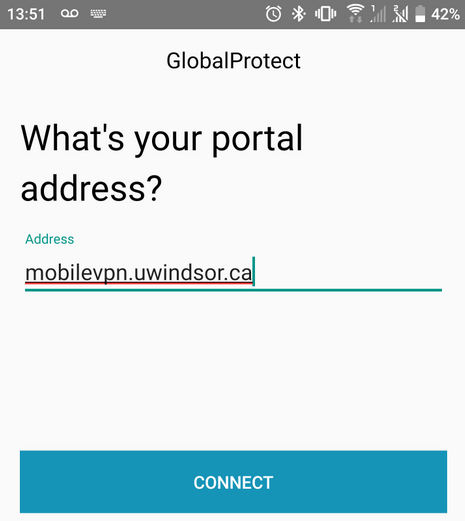 GlobalProtect portal address screen