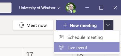 Live event create invitation menu item