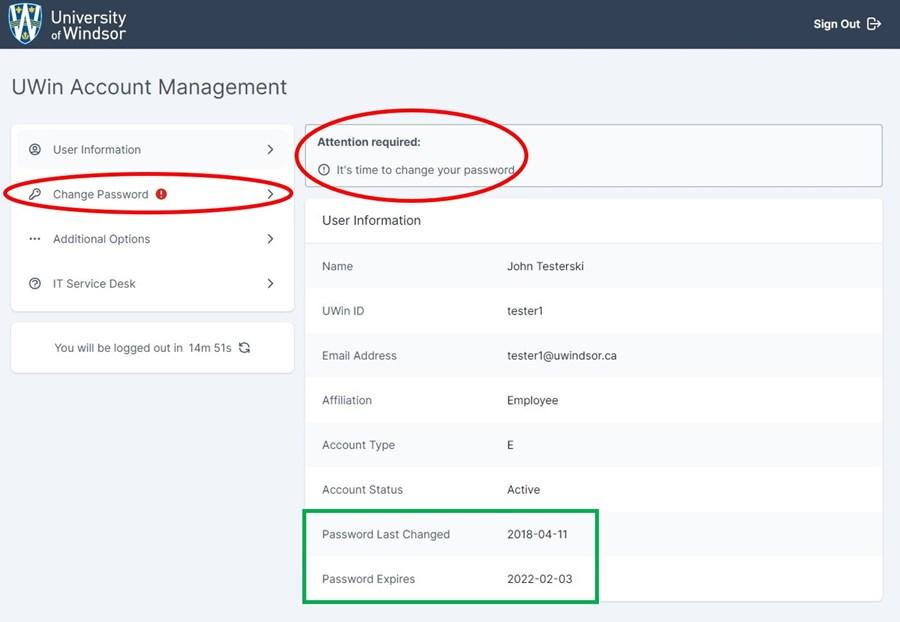 UWin Account Manager - Password change needed message